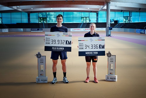 Mareike Thum and Felix Rijhnen after the World Hour record